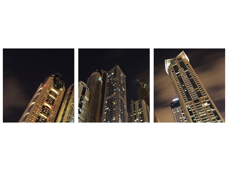 Panorama Aluminiumbild 3-teilig Wolkenkratzer Dubai Marina