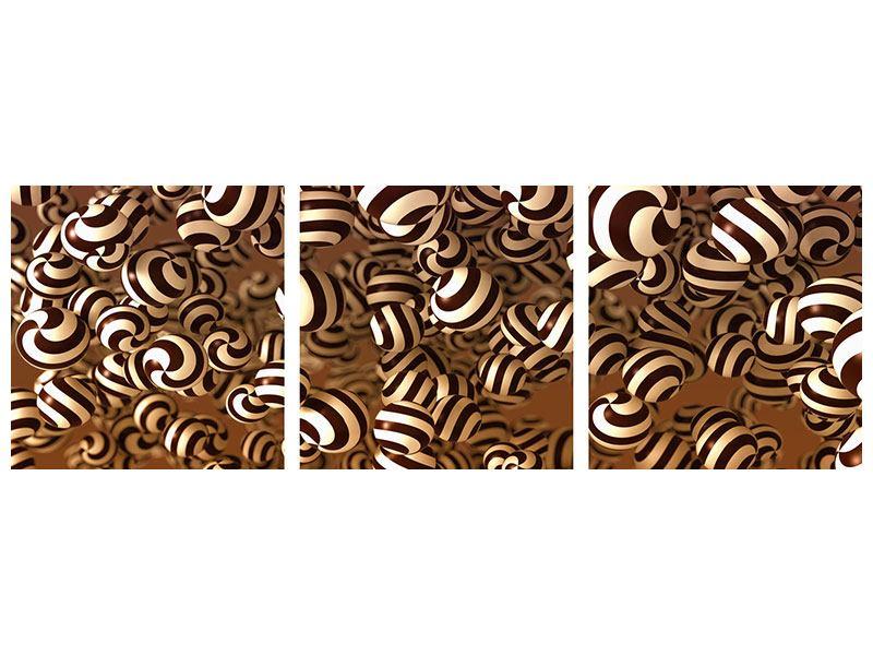 Panorama Aluminiumbild 3-teilig Schokoladen-Bonbons