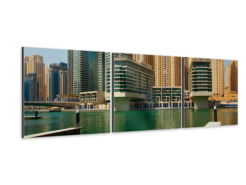 Panorama Aluminiumbild 3-teilig Spektakuläre Wolkenkratzer Dubai