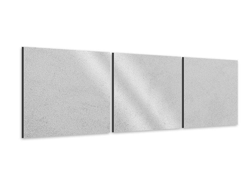 Panorama Aluminiumbild 3-teilig Beton in Hellgrau