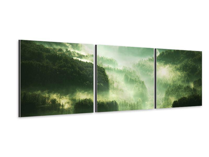 Panorama Aluminiumbild 3-teilig Über den Wäldern