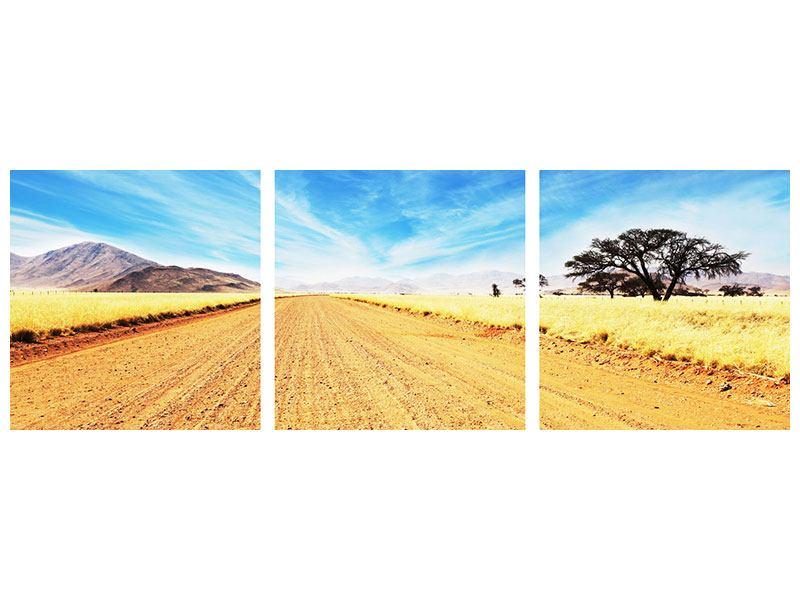 Panorama Aluminiumbild 3-teilig Eine Landschaft in Afrika