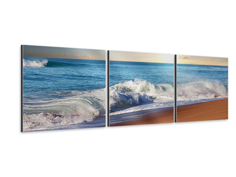 Panorama Aluminiumbild 3-teilig Die Wellen des Meeres