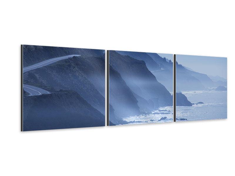 Panorama Aluminiumbild 3-teilig Bewegung im Wasser