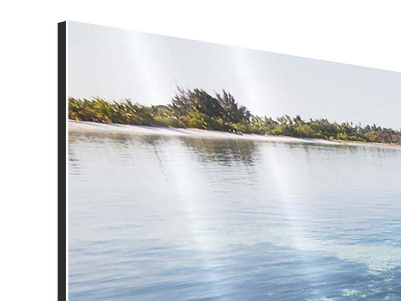 Panorama Aluminiumbild 3-teilig Bad im Meer