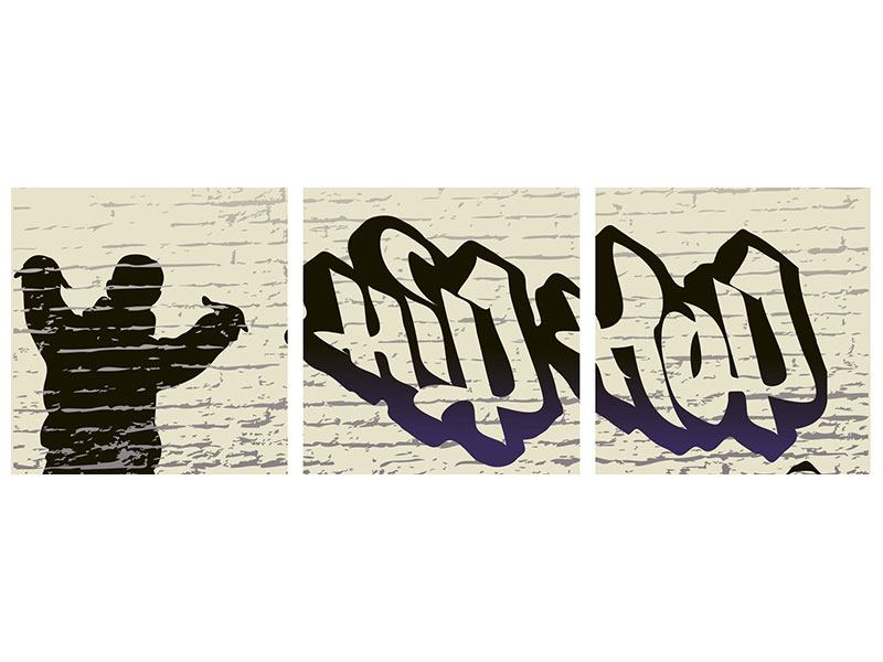 Panorama Aluminiumbild 3-teilig Graffiti Hip Hop