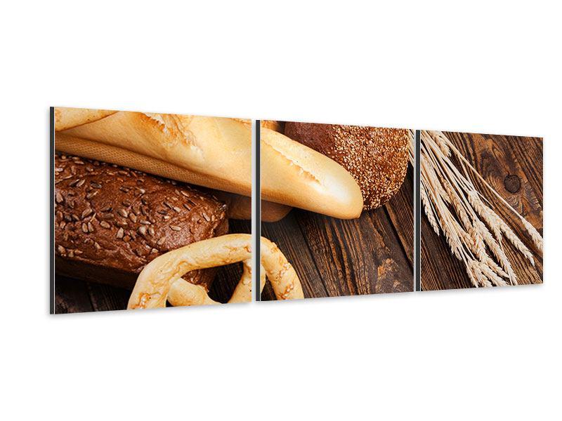 Panorama Aluminiumbild 3-teilig Brot und Bretzel