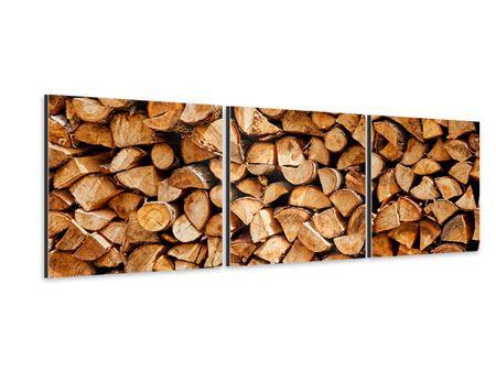 Panorama Aluminiumbild 3-teilig Gestapeltes Holz