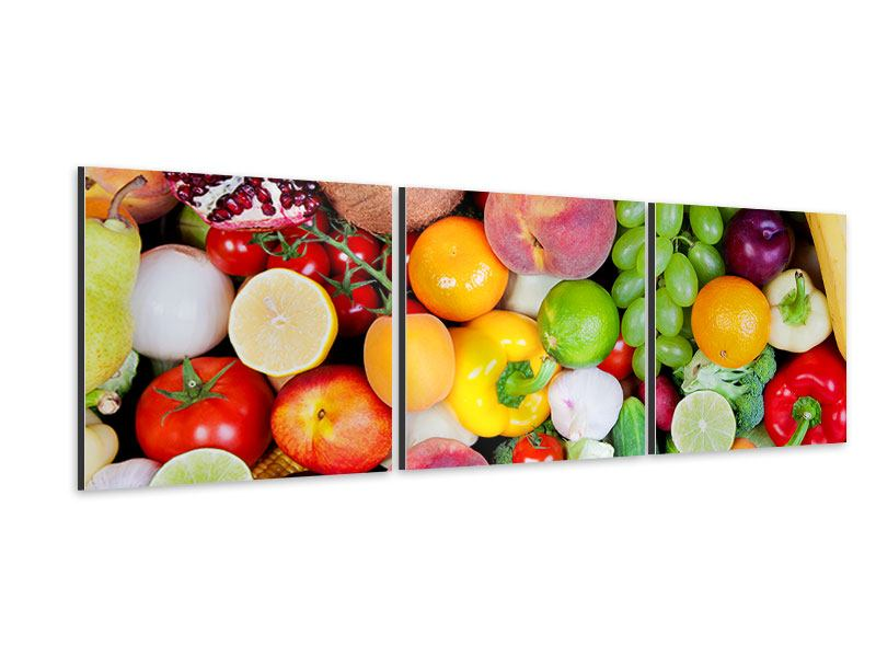 Panorama Aluminiumbild 3-teilig Frisches Obst