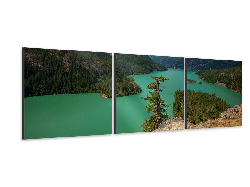 Panorama Aluminiumbild 3-teilig Diablo Bergsee