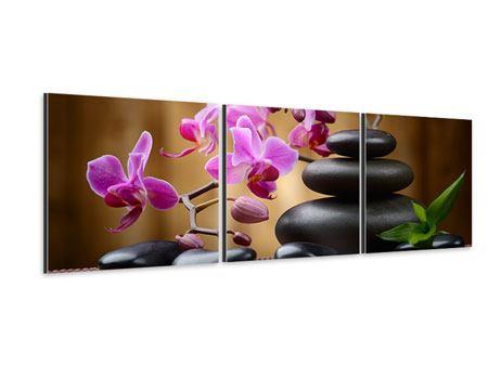 Panorama Aluminiumbild 3-teilig Wellness-Steine