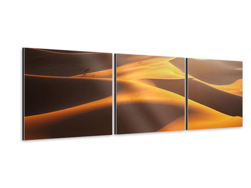 Panorama Aluminiumbild 3-teilig Wüstenwanderung