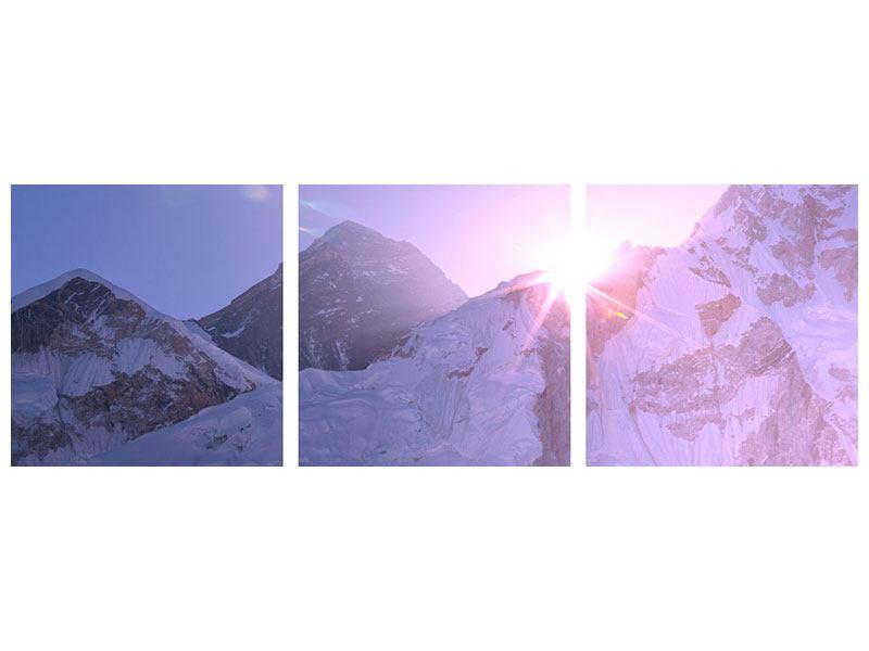 Panorama Aluminiumbild 3-teilig Sonnenaufgang beim Mount Everest