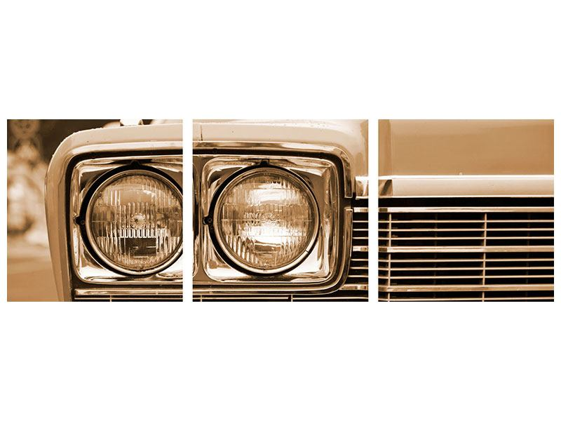 Panorama Aluminiumbild 3-teilig Oldtimer Close up
