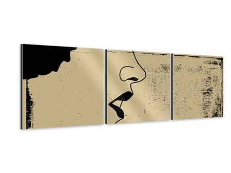 Panorama Aluminiumbild 3-teilig Frauenportrait im Grungestil