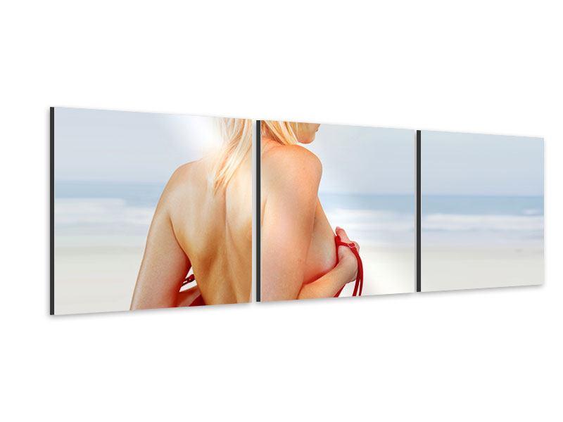 Panorama Aluminiumbild 3-teilig Rücken einer Schönheit