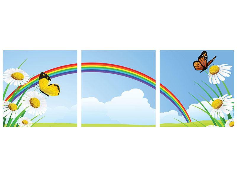 Panorama Aluminiumbild 3-teilig Der bunte Regenbogen