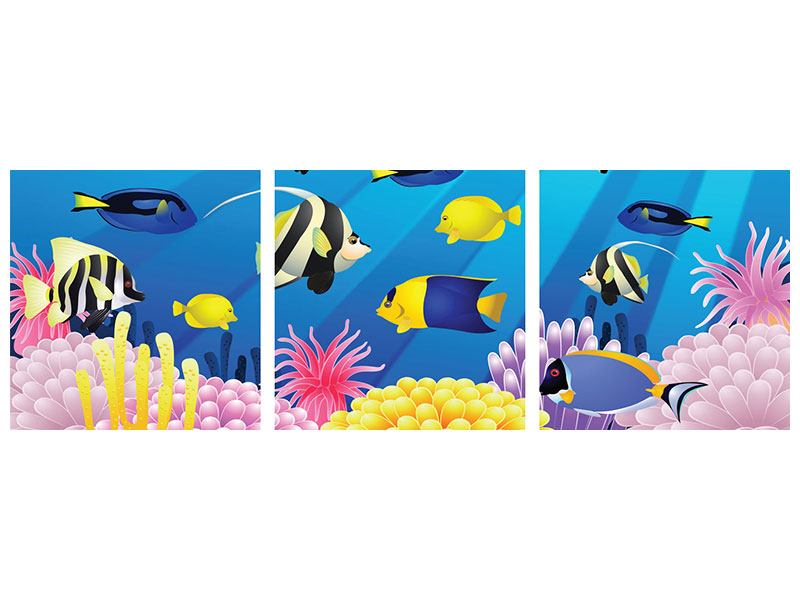Panorama Aluminiumbild 3-teilig Kinder Unterwasserwelt