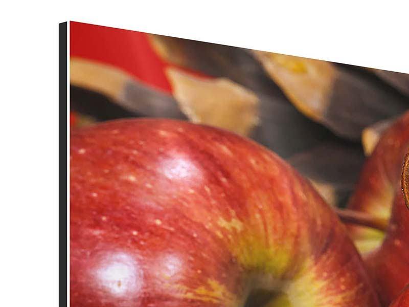 Panorama Aluminiumbild 3-teilig Äpfel