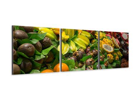 Panorama Aluminiumbild 3-teilig Früchte