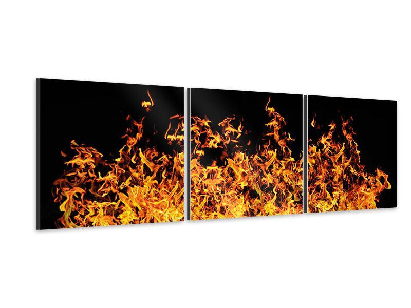 Panorama Aluminiumbild 3-teilig Moderne Feuerwand