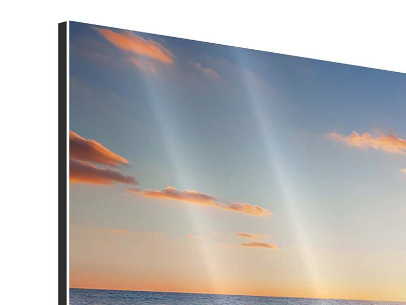 Panorama Aluminiumbild 3-teilig Sonnenuntergang am Horizont