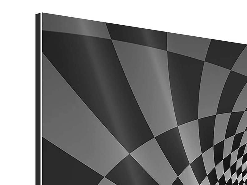 Panorama Aluminiumbild 3-teilig Abstraktes Schachbrett