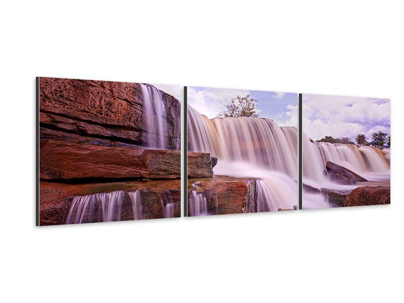 Panorama Aluminiumbild 3-teilig Himmlischer Wasserfall