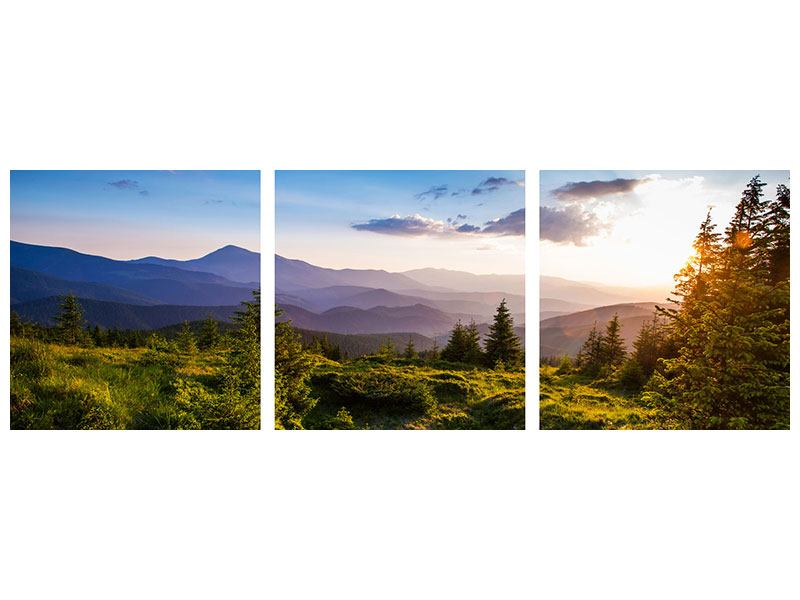 Panorama Aluminiumbild 3-teilig Friedliche Landschaft