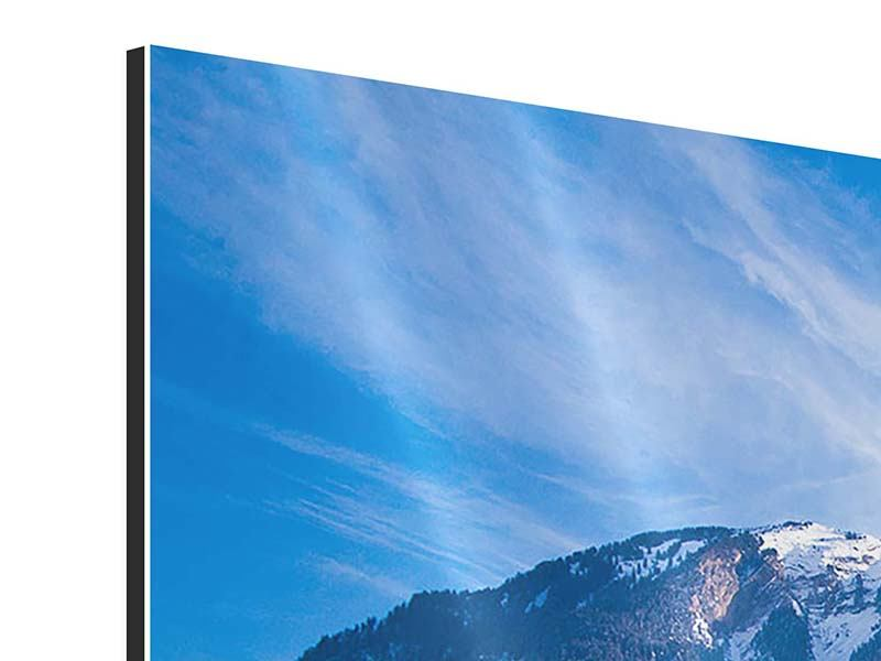 Panorama Aluminiumbild 3-teilig Winterwunderland