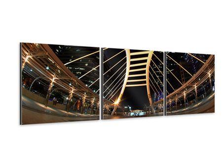 Panorama Aluminiumbild 3-teilig Avantgardistische Brücke