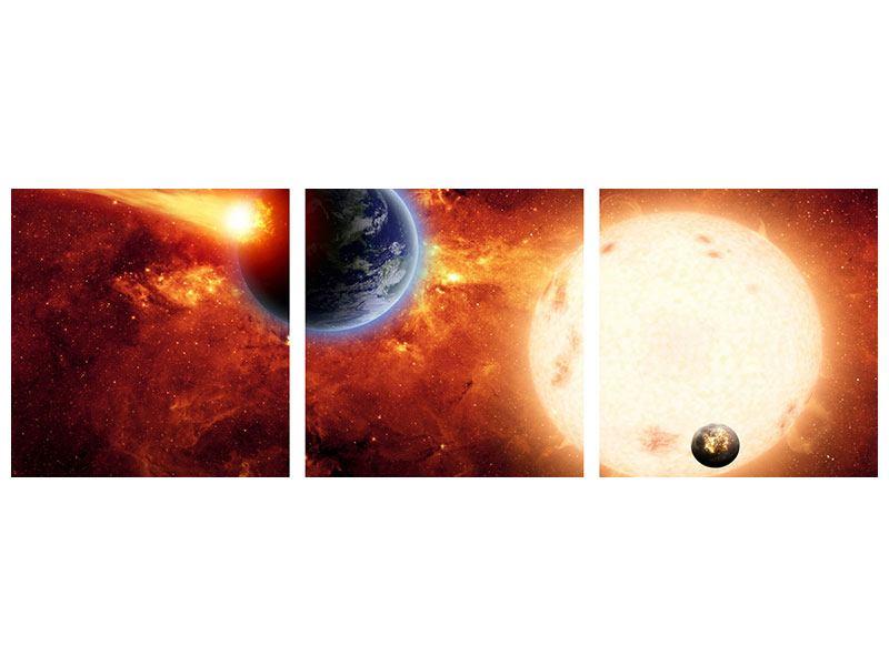 Panorama Aluminiumbild 3-teilig Der Kosmos