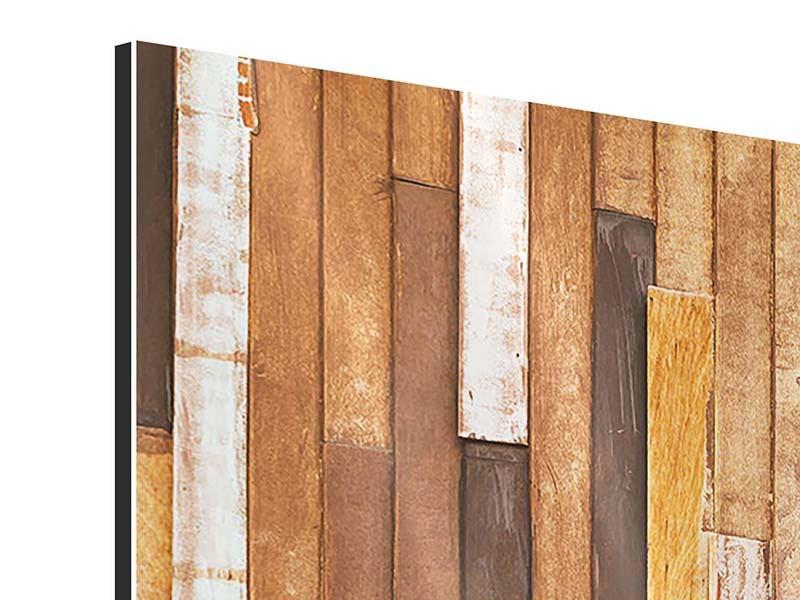 Panorama Aluminiumbild 3-teilig Designholz