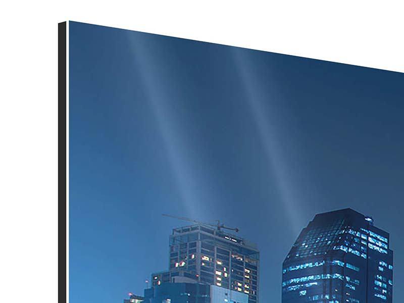 Panorama Aluminiumbild 3-teilig Skyline Bangkok bei Nacht