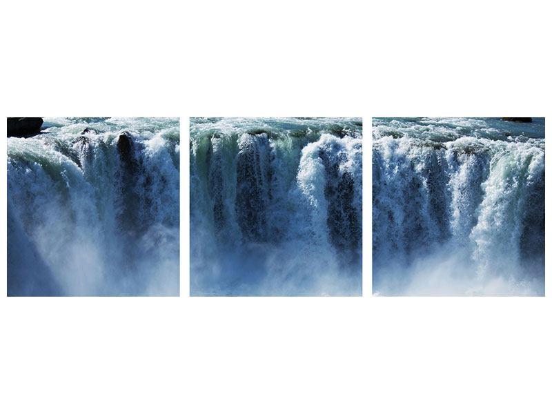 Panorama Aluminiumbild 3-teilig Mächtiger Wasserfall