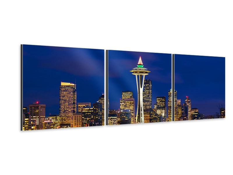 Panorama Aluminiumbild 3-teilig Skyline Seattle