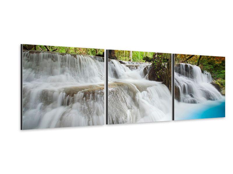 Panorama Aluminiumbild 3-teilig Erawan Wasserfall