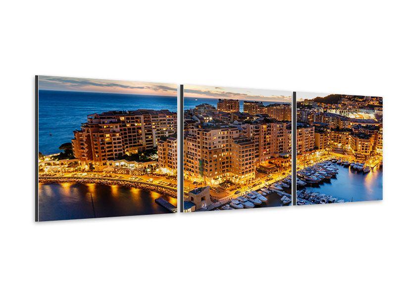 Panorama Aluminiumbild 3-teilig Monaco