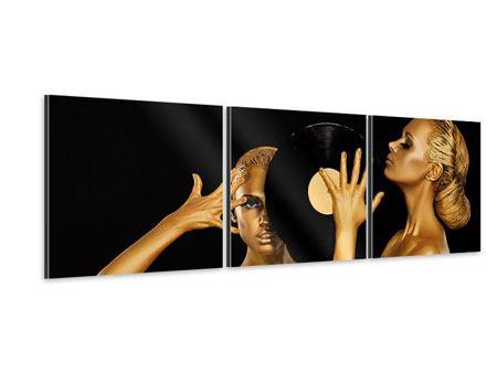 Panorama Aluminiumbild 3-teilig Gold-DJ`s