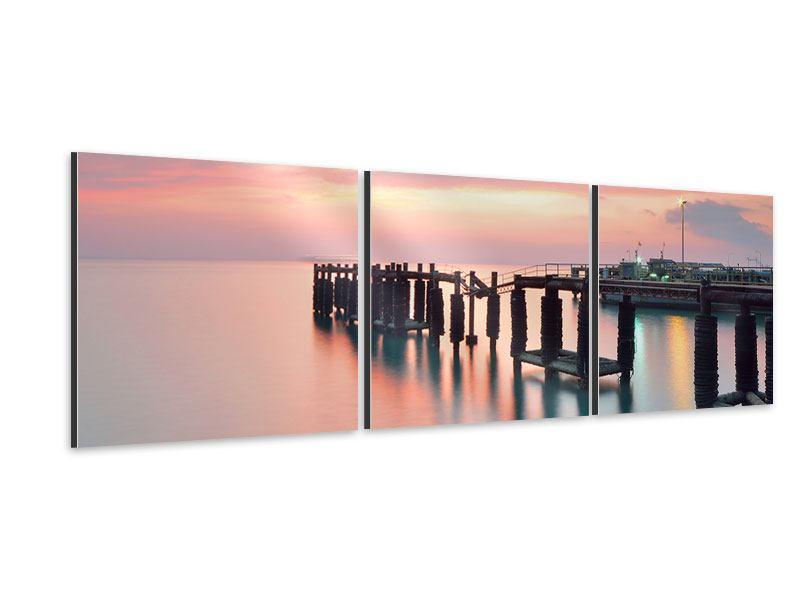 Panorama Aluminiumbild 3-teilig Der beruhigende Sonnenuntergang