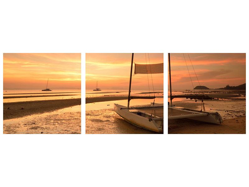 Panorama Aluminiumbild 3-teilig Sonnenuntergang am Strand