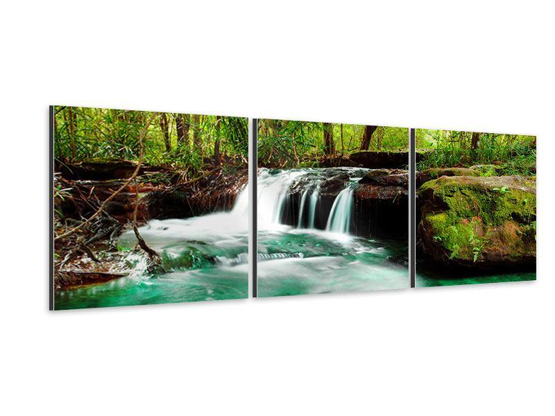 Panorama Aluminiumbild 3-teilig Der Fluss am Wasserfall