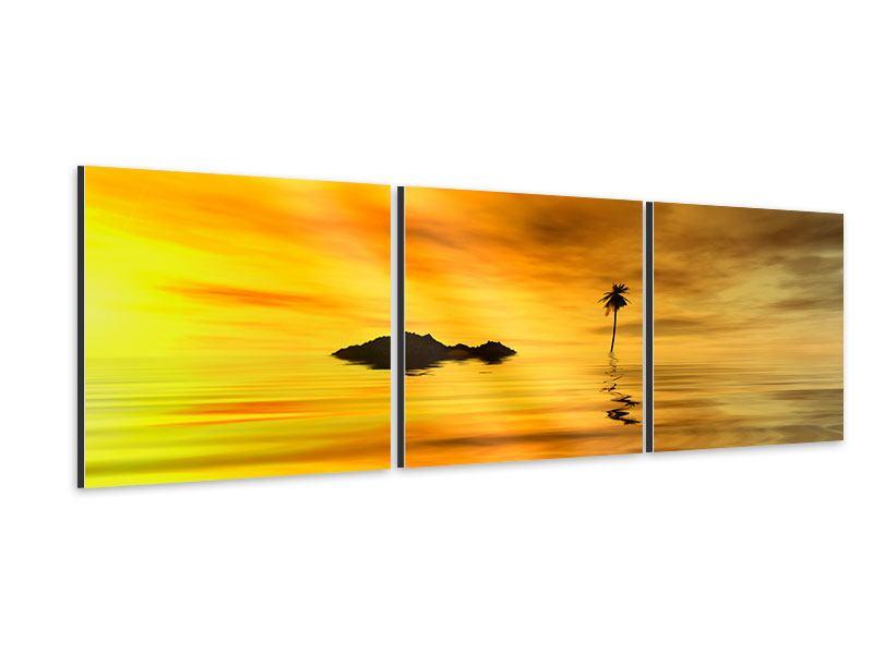 Panorama Aluminiumbild 3-teilig Ab auf die Insel