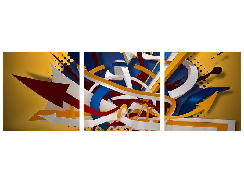Panorama Aluminiumbild 3-teilig Graffiti Art