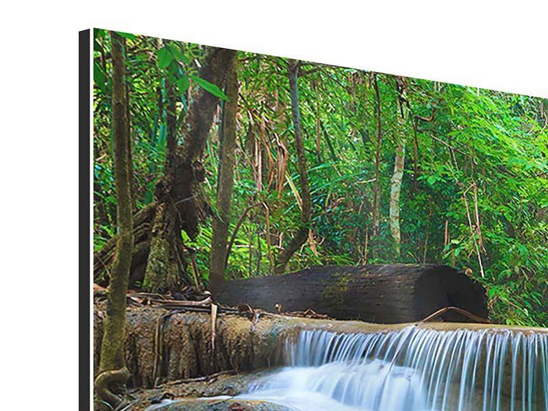 Panorama Aluminiumbild 3-teilig Kaskaden Huay Mae Khamin