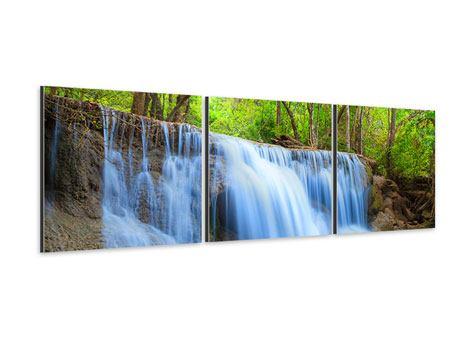 Panorama Aluminiumbild 3-teilig Wasserfall Si Nakharin