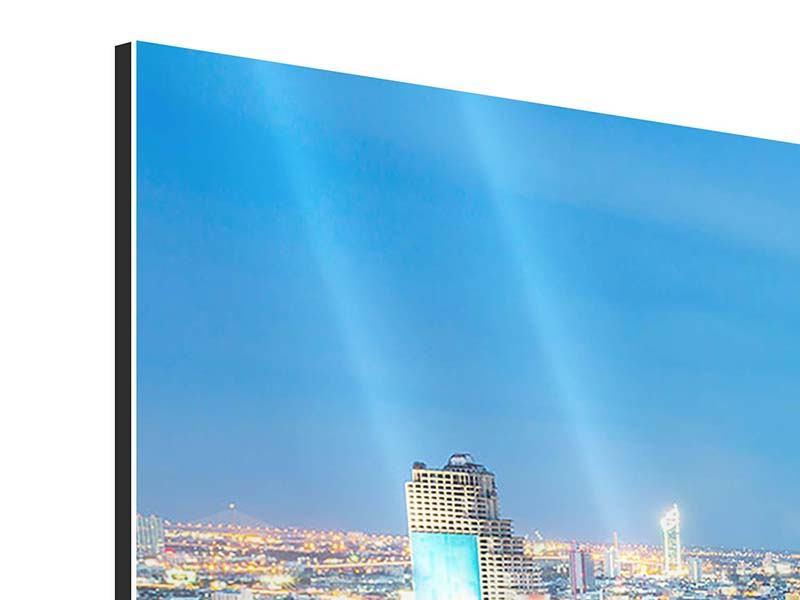 Panorama Aluminiumbild 3-teilig Skyline Bangkok bei Sonnenuntergang