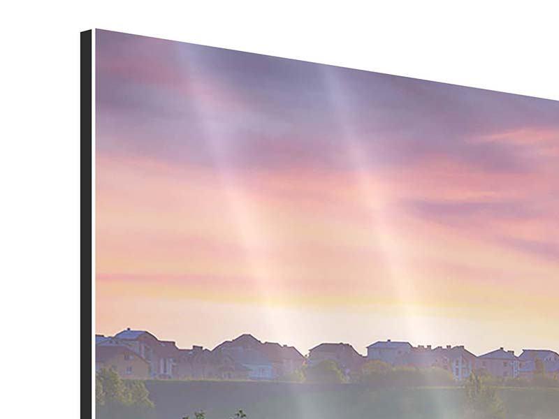 Panorama Aluminiumbild 3-teilig Sonnenuntergang am Hügel