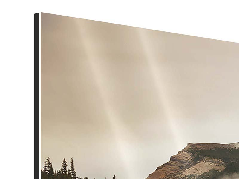 Panorama Aluminiumbild 3-teilig Spiegelung im Glacier Nationalpark