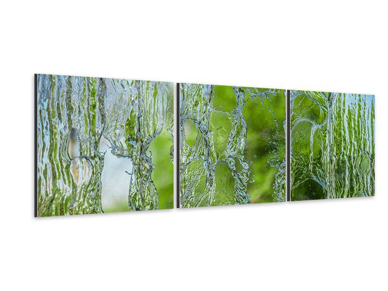 Panorama Aluminiumbild 3-teilig Hinter dem Wasserfall